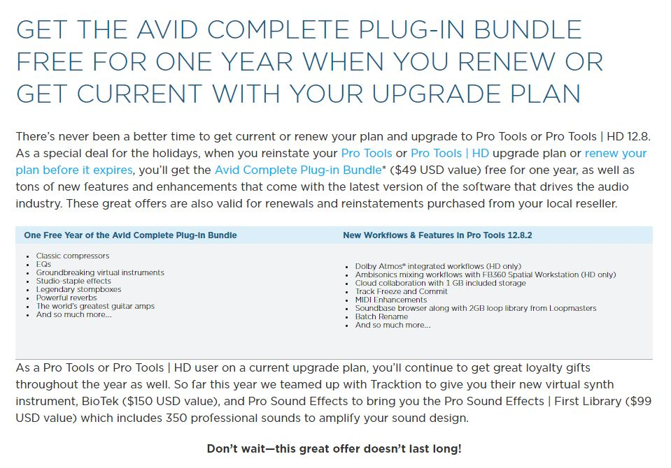 Avid Special Offer: Get the Avid Complete Plug-in Bundle Free When