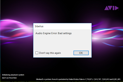 Audio Engine Error: Bad Settings when starting Sibelius