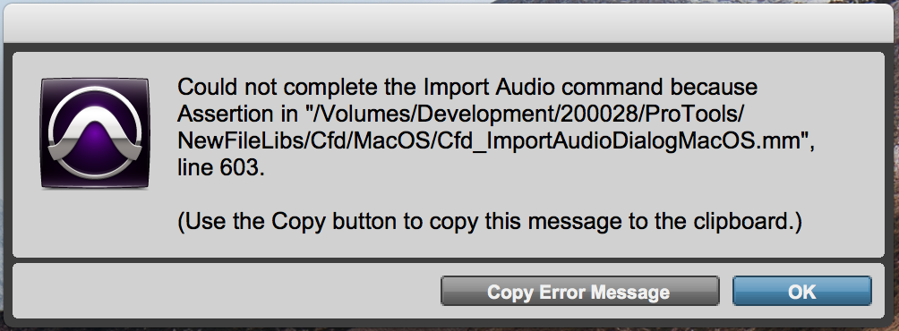 Could not complete the Import Audio command because
