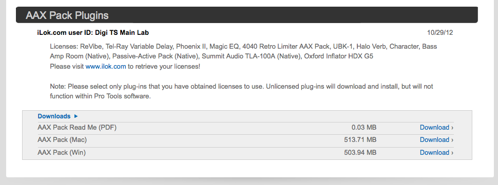 Authorizing the AAX Pack Plug-Ins