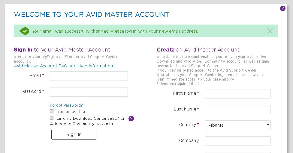 How to change my Avid account email address?