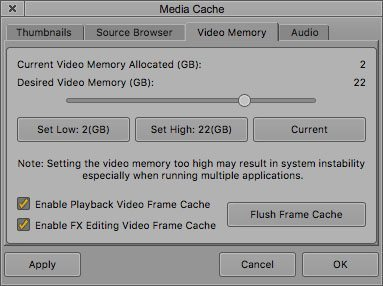 Correct interactive frame cache or Media Cace settings in